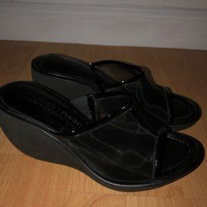 Donald J Pliner Mesh Wedge Slip On Sandals